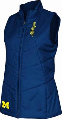Michigan Womens 3 Stripe Quilted Vest Jacket - Medium