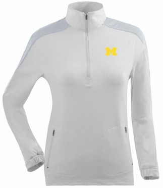 Michigan Womens Succeed 1/4 Zip Performance Pullover (Color: White)