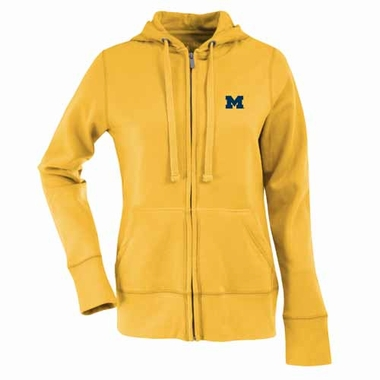 Michigan Womens Zip Front Hoody Sweatshirt (Alternate Color: Gold)