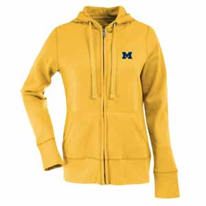 Michigan Womens Zip Front Hoody Sweatshirt (Color: Gold) - Medium