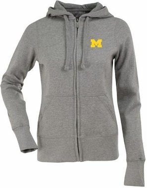 Michigan Womens Zip Front Hoody Sweatshirt (Color: Gray)