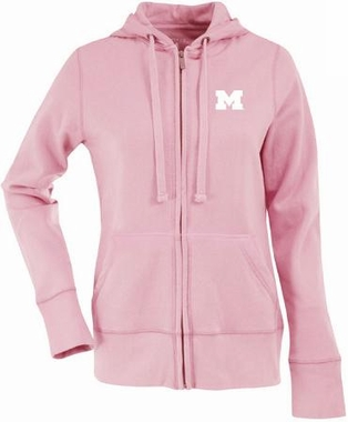 Michigan Womens Zip Front Hoody Sweatshirt (Color: Pink)