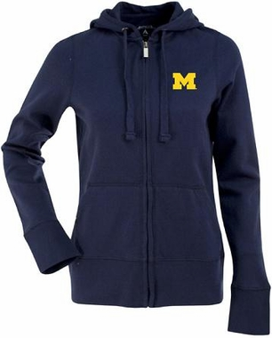 Michigan Womens Zip Front Hoody Sweatshirt (Color: Navy)