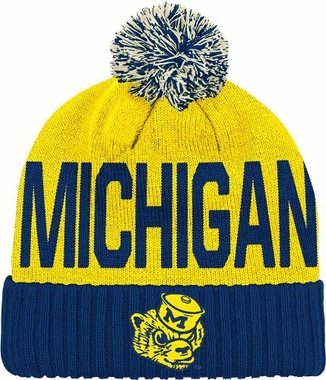Michigan Wordmark & Logo Pom Knit Hat