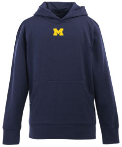 Michigan YOUTH Boys Signature Hooded Sweatshirt (Team Color: Navy) - Large