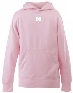 Michigan YOUTH Girls Signature Hooded Sweatshirt (Color: Pink) - Medium