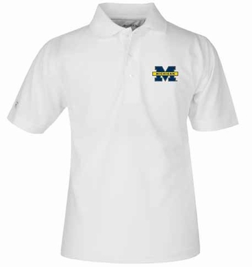 Michigan YOUTH Unisex Pique Polo Shirt (Color: White)
