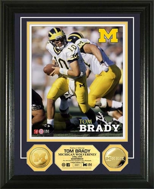 Michigan Wolverines Tom Brady University of Michigan 24KT Gold Coin Photo Mint