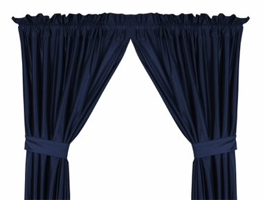 Midnight Blue Jersey Material Drapes (Pair)