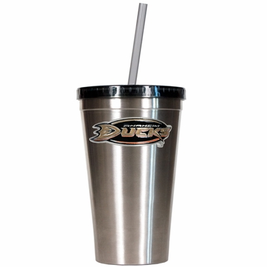 Anaheim Ducks 16oz Stainless Steel Insulated Tumbler with Straw