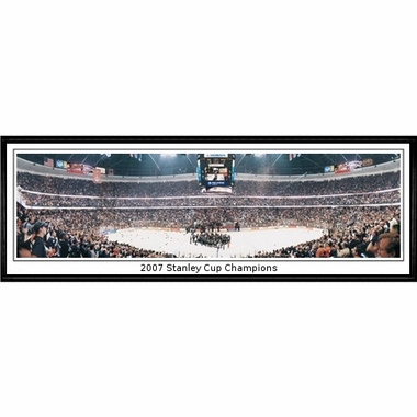 Anaheim Ducks 2007 Stanley Cup Champions Framed Panoramic Print