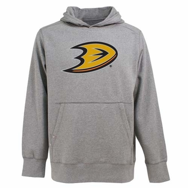 Anaheim Ducks Big Logo Mens Signature Hooded Sweatshirt (Color: Gray)