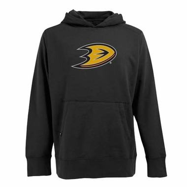 Anaheim Ducks Big Logo Mens Signature Hooded Sweatshirt (Team Color: Black)