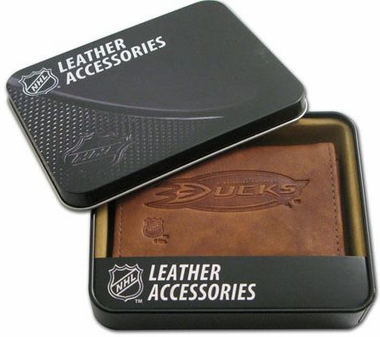 Anaheim Ducks Embossed Leather Trifold Wallet
