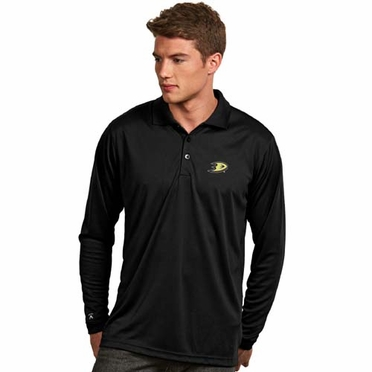 Anaheim Ducks Mens Long Sleeve Polo Shirt (Team Color: Black)