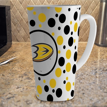 Anaheim Ducks Polkadot 16 oz. Ceramic Latte Mug