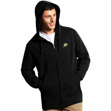Anaheim Ducks Mens Signature Full Zip Hooded Sweatshirt (Team Color: Black)