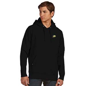 Anaheim Ducks Mens Signature Hooded Sweatshirt (Team Color: Black) - Large