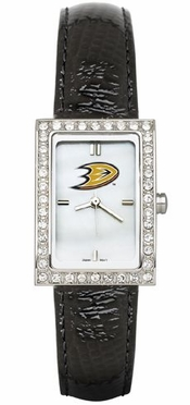 Anaheim Ducks Women's Black Leather Strap Allure Watch
