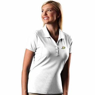Anaheim Ducks Womens Pique Xtra Lite Polo Shirt (Color: White)