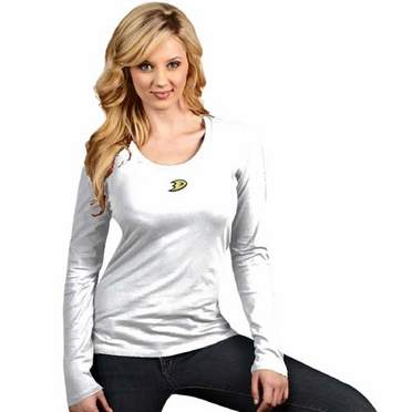 Anaheim Ducks Womens Relax Long Sleeve Tee (Color: White)