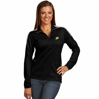 Anaheim Ducks Womens Succeed 1/4 Zip Performance Pullover (Team Color: Black)