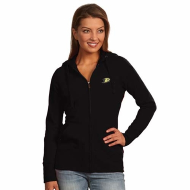 Anaheim Ducks Womens Zip Front Hoody Sweatshirt (Team Color: Black)
