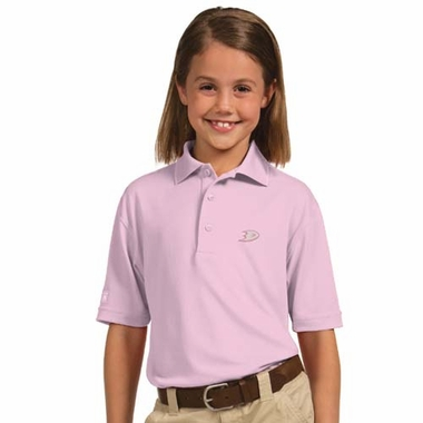 Anaheim Ducks YOUTH Unisex Pique Polo Shirt (Color: Pink)