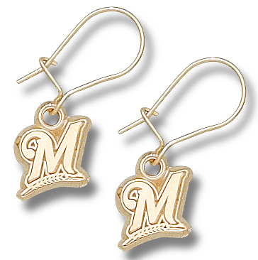 Milwaukee Brewers 14K Gold Post or Dangle Earrings