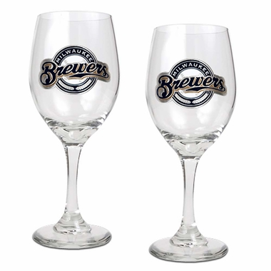Milwaukee Brewers 2 Piece Wine Glass Set