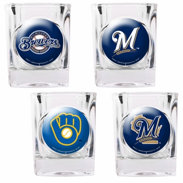 Milwaukee Brewers 4 Piece Assorted Shot Glass Set