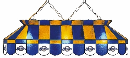 Milwaukee Brewers 40 Inch Rectangular Stained Glass Billiard Light