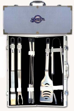 Milwaukee Brewers 8pc. BBQ Set w/Case
