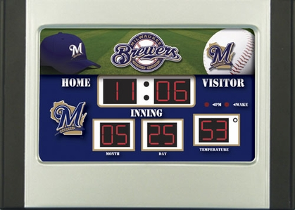 Milwaukee Brewers Alarm Clock Desk Scoreboard