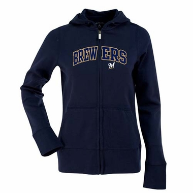 Milwaukee Brewers Applique Womens Zip Front Hoody Sweatshirt (Team Color: Navy)