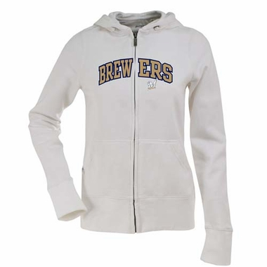 Milwaukee Brewers Applique Womens Zip Front Hoody Sweatshirt (Color: White)