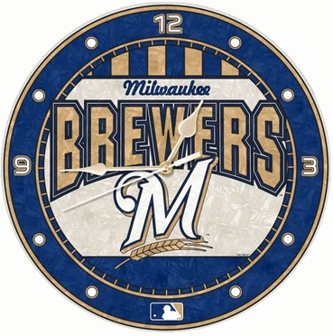 Milwaukee Brewers Art Glass Clock