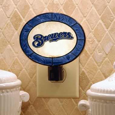 Milwaukee Brewers Art Glass Night Light
