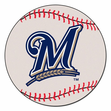 Milwaukee Brewers Baseball Shaped Rug