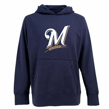 Milwaukee Brewers Big Logo Mens Signature Hooded Sweatshirt (Team Color: Navy)
