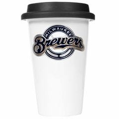 Milwaukee Brewers Ceramic Travel Cup (Black Lid)
