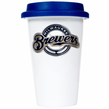 Milwaukee Brewers Ceramic Travel Cup (Team Color Lid)