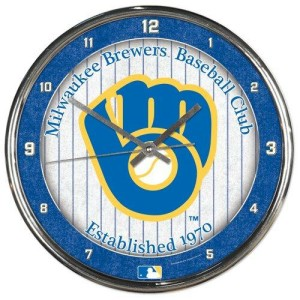 Milwaukee Brewers Round Chrome Wall Clock