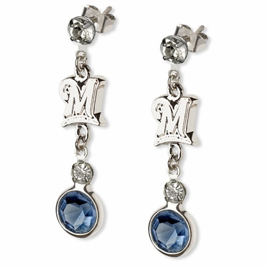 Milwaukee Brewers Crystal Logo Dangle Earrings