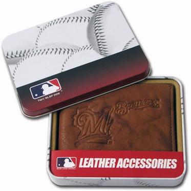 Milwaukee Brewers Embossed Leather Bifold Wallet