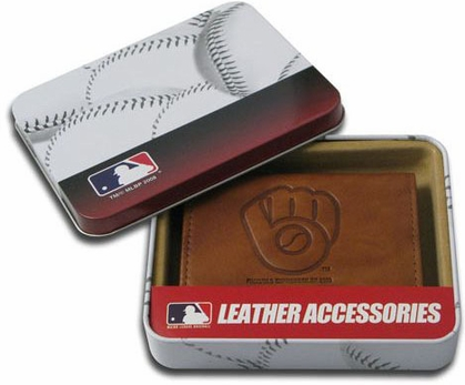Milwaukee Brewers Embossed Leather Trifold Wallet