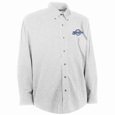 Milwaukee Brewers Mens Esteem Check Pattern Button Down Dress Shirt (Color: White)
