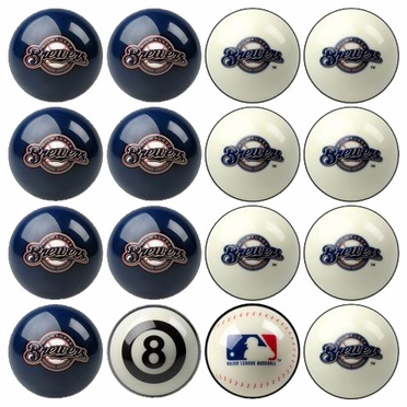 Milwaukee Brewers Home and Away Complete Billiard Ball Set