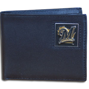 Milwaukee Brewers Leather Bifold Wallet (F)