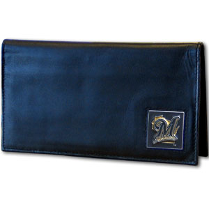 Milwaukee Brewers Leather Checkbook Cover (F)